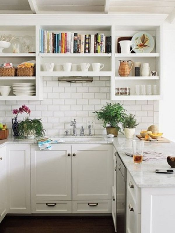 cool kitchen shelf ideas. Add functional color  Tips for Stylishly Stocking that Open Kitchen Shelving