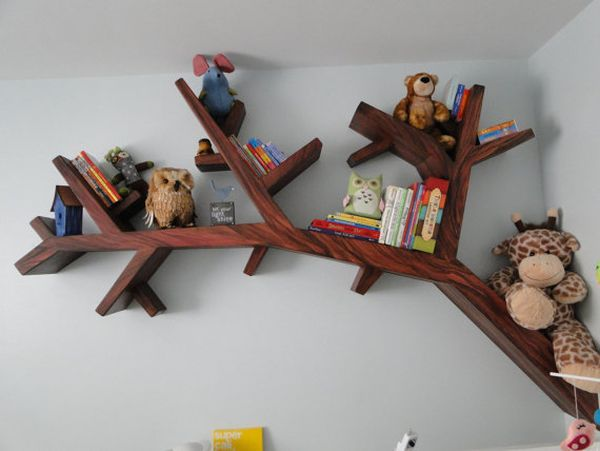 Tree Bookshelves That Creatively Display Collections In Style - Corner tree bookshelf