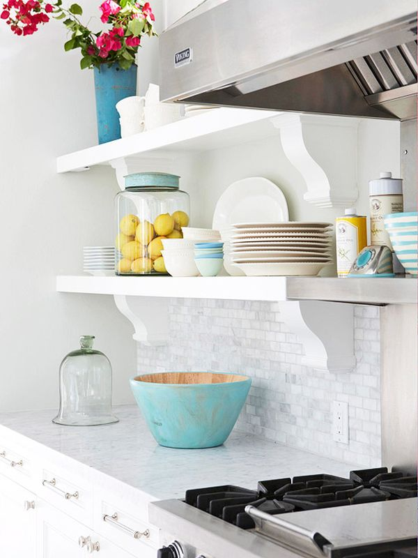 Tips For Stylishly Stocking That Open Kitchen Shelving