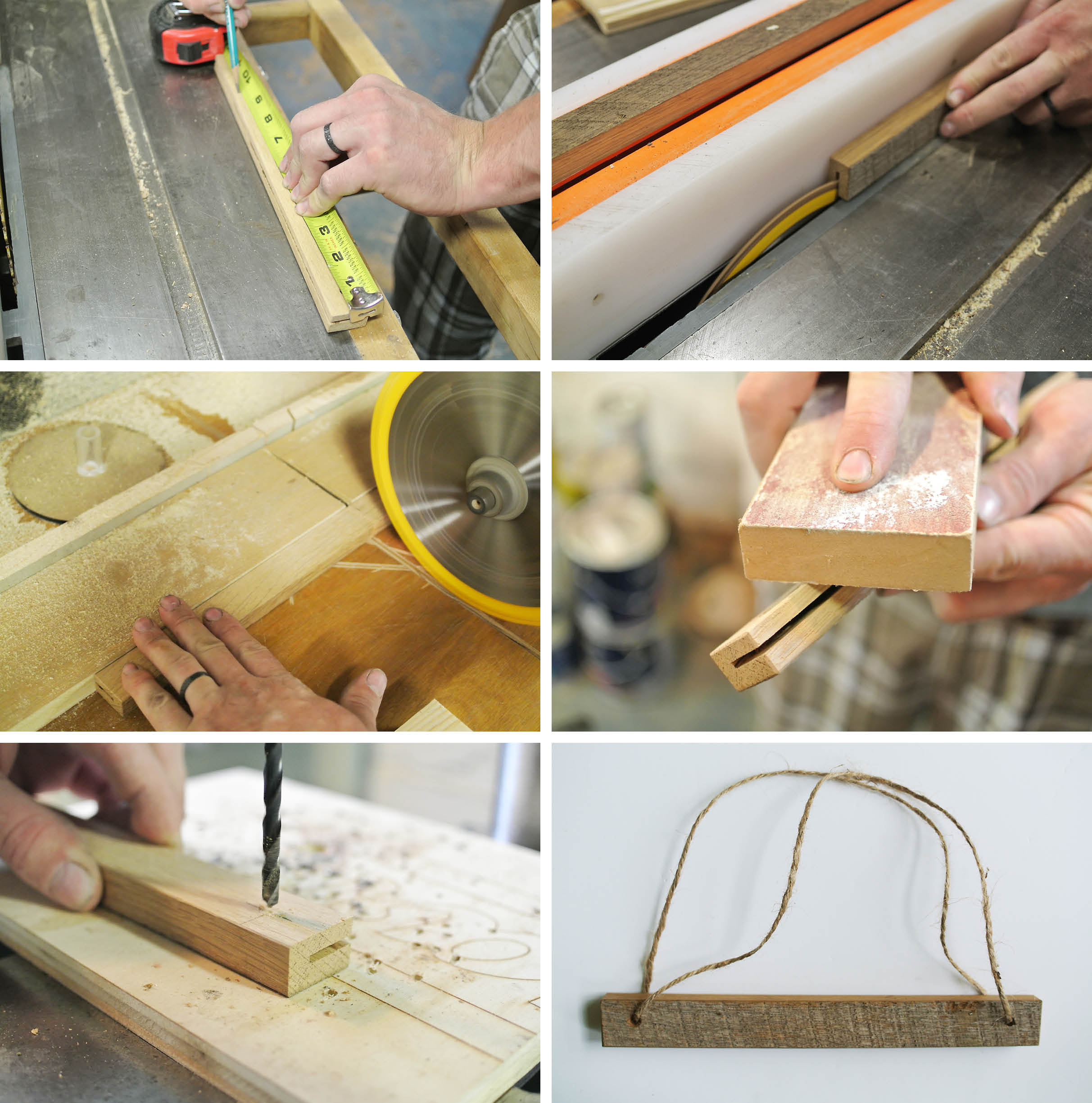 wooden slat hanging frame DIY instructions