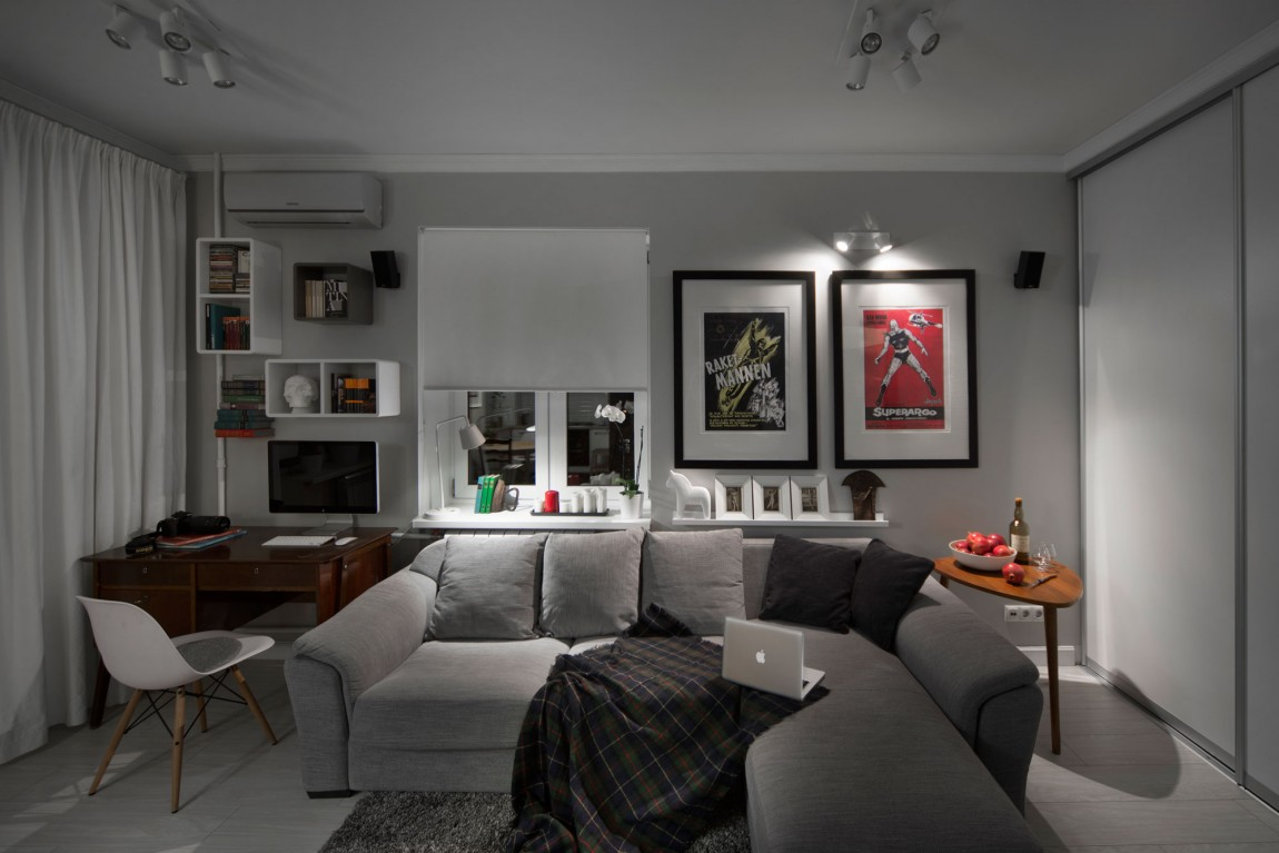 compact bachelor pad captures all the right details in an eclectic