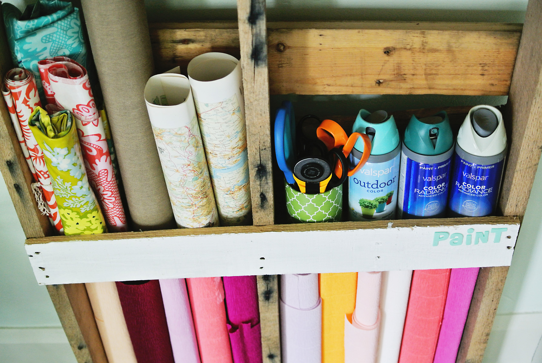 DIY pallet craft supply storage