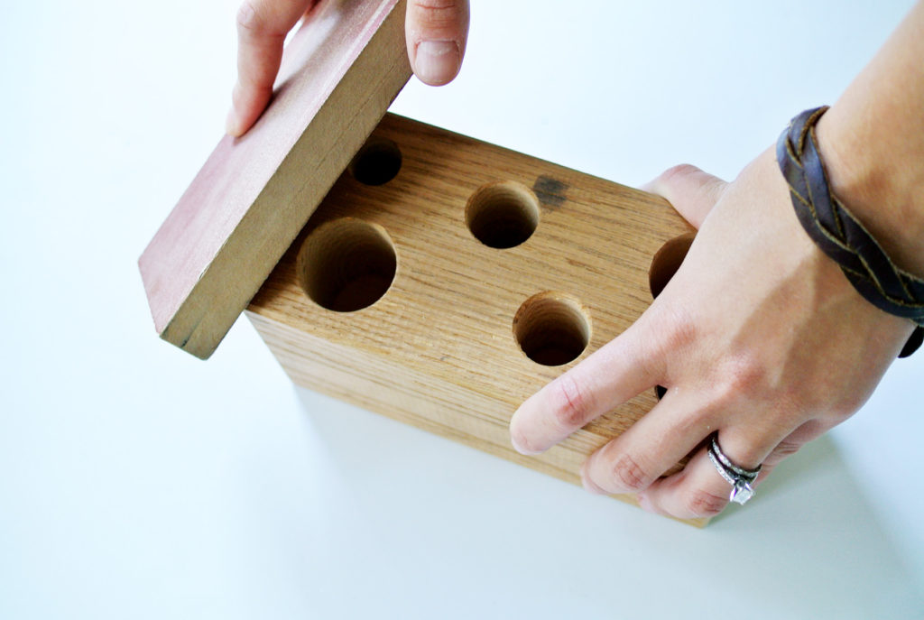 DIY wooden block pencil holder