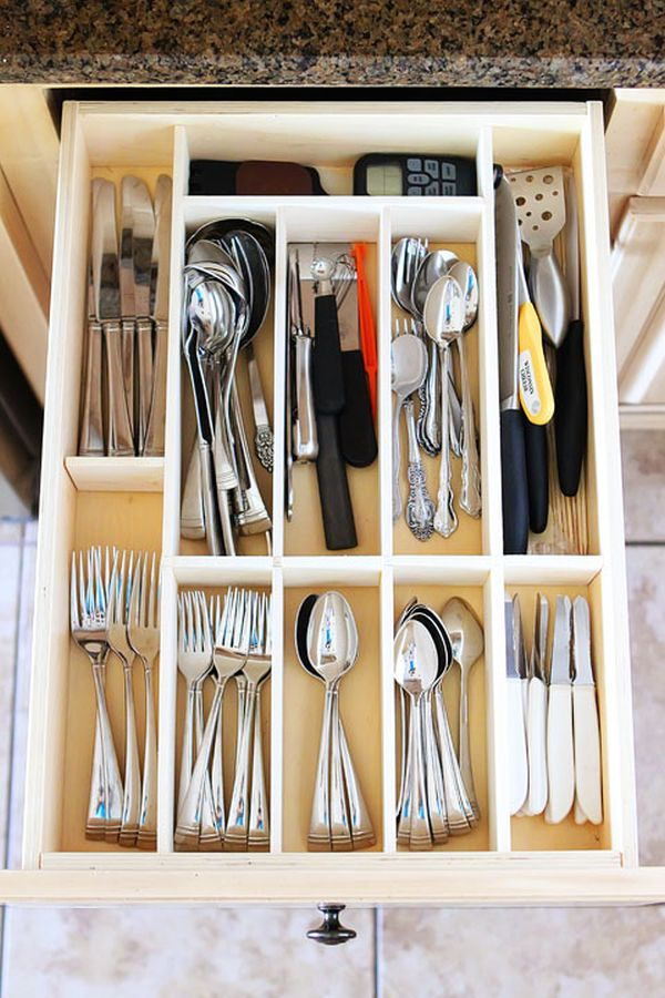 Organizing the drawers.