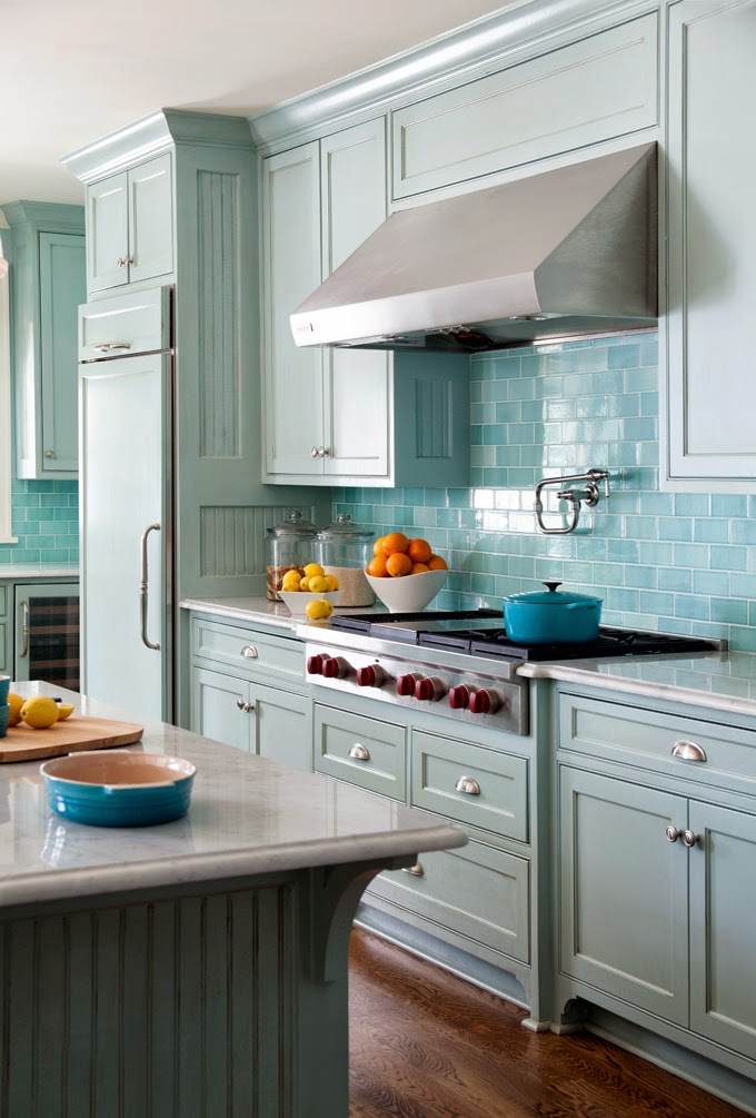 light turquoise kitchen eclectic cottage home with a vibrant yet balanced color 3763