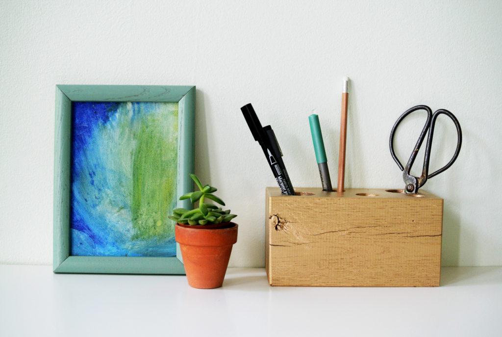 DIY Gilded Wooden Pencil Holder