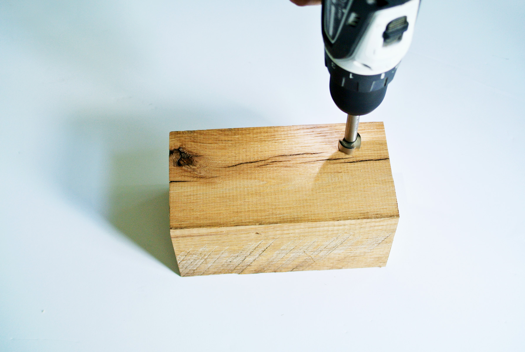 how to make a wooden block pencil holder