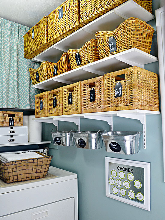 laundry room shelves: keep everything organized and within reach