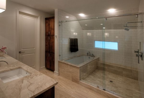 How you can make the tub shower combo work for your bathroom for Large bathroom designs pictures