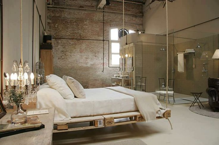 You can make a hanging bed yourself using wooden pallets and rope ...