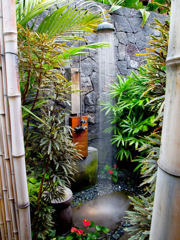 25 cool shower designs that will leave you craving for more for Outdoor rock shower