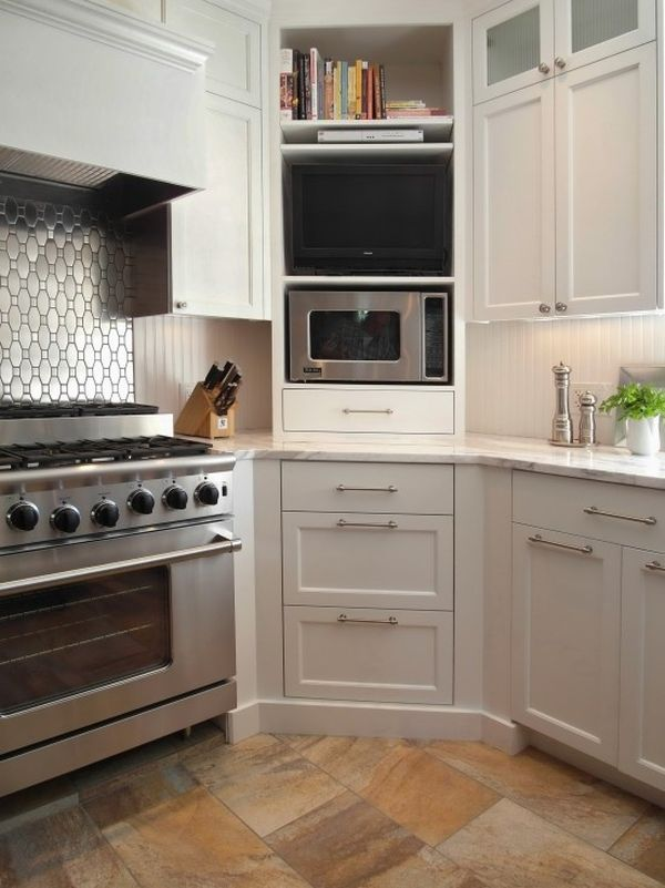 Built-in Microwave and TV. & Design Ideas And Practical Uses For Corner Kitchen Cabinets