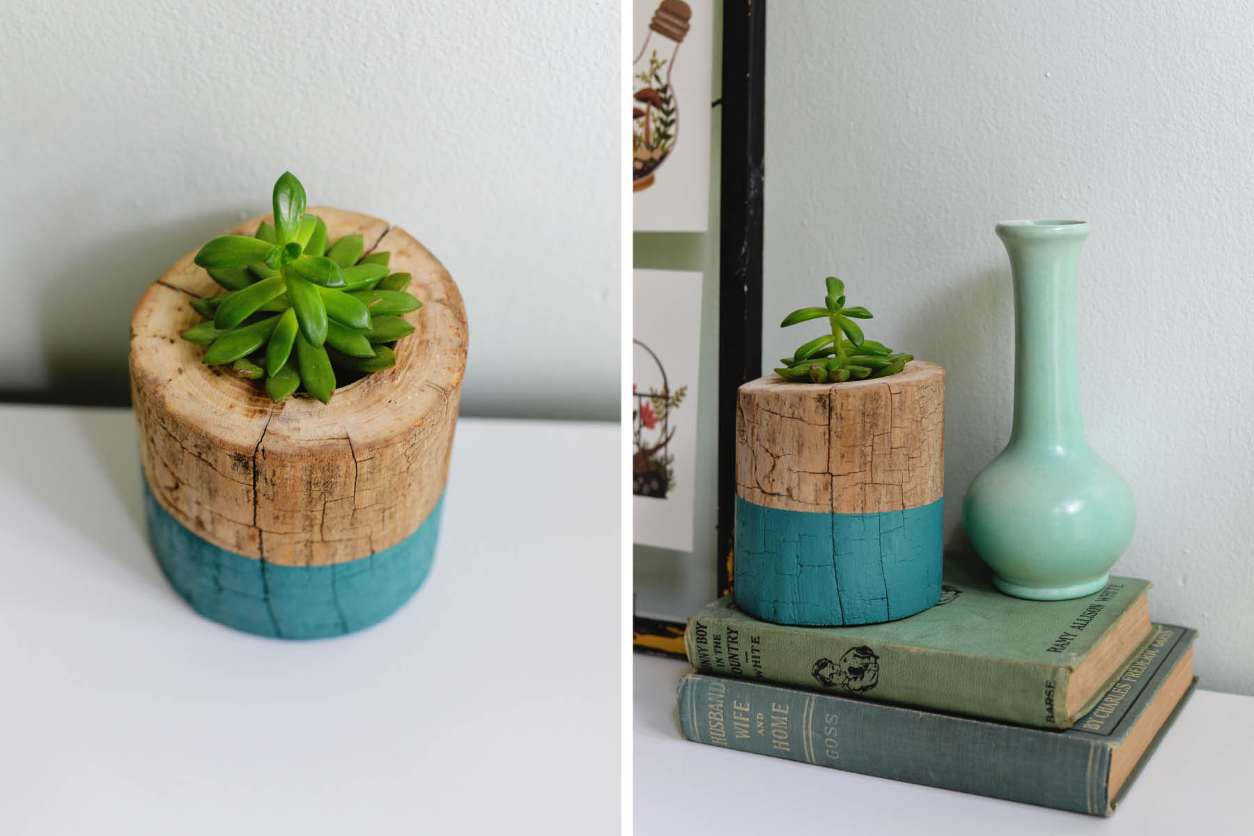two toned tree trunk planter DIY