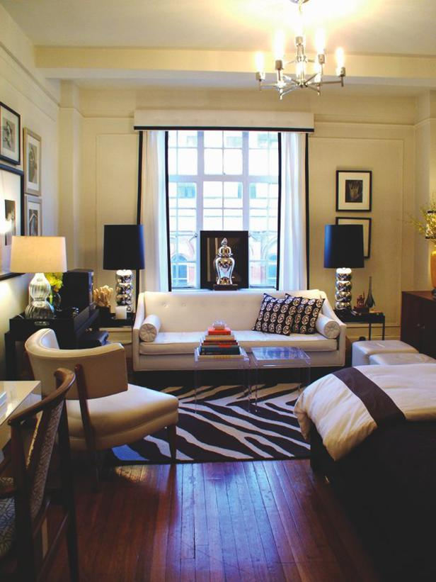 small apartment living room. 5  White Window Treatments How to Decorate a Studio Apartment