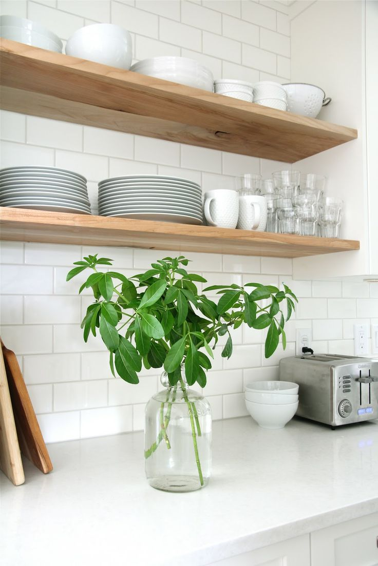 Kitchen subway tiles are back in style 50 inspiring designs wooden shelves dailygadgetfo Image collections