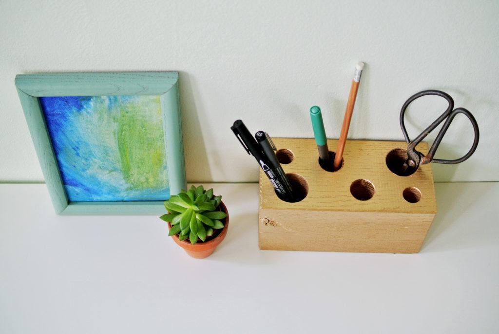 wooden block pencil holder