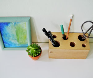 DIY Gilded Wooden Pencil Holder