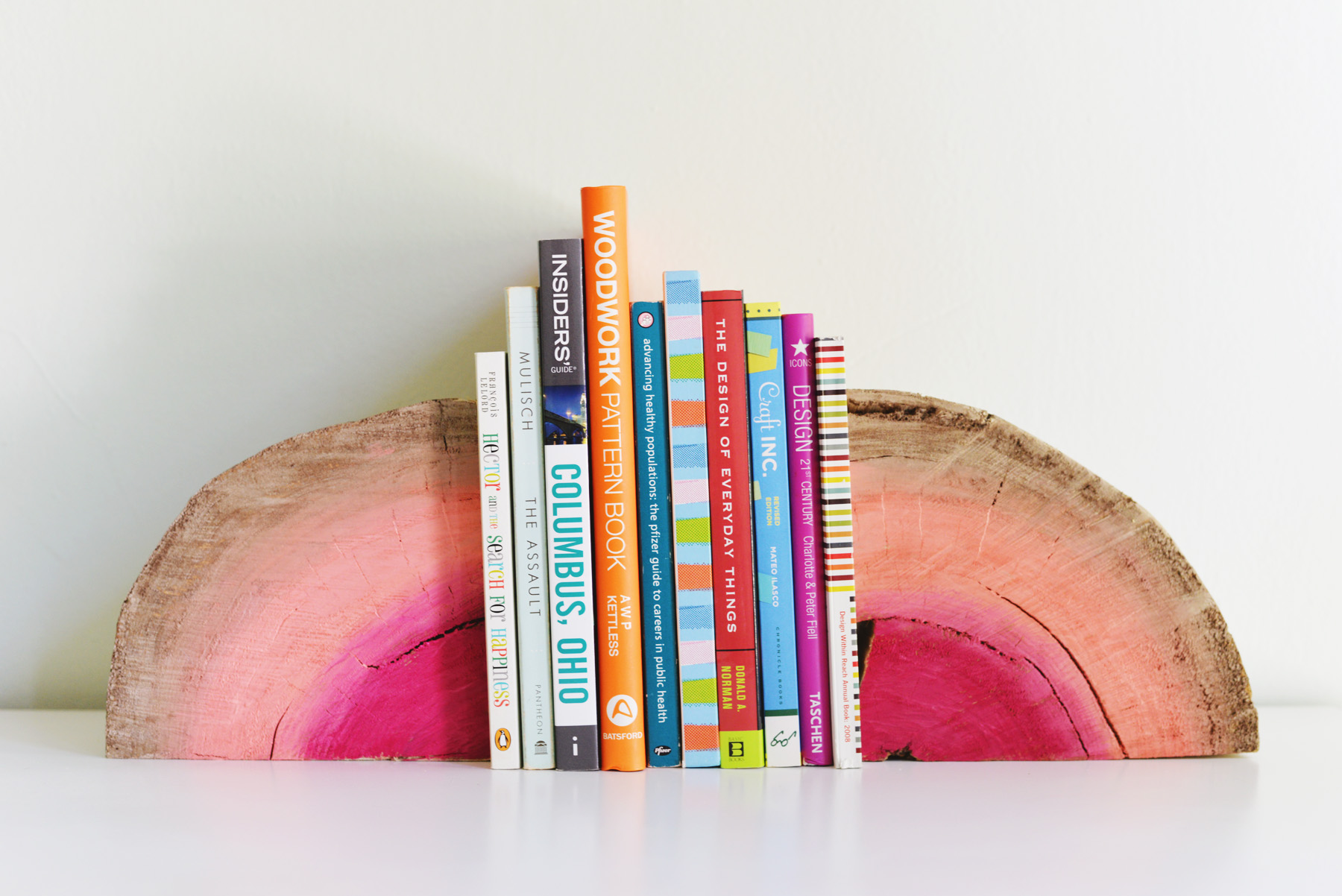 DIY half log book ends