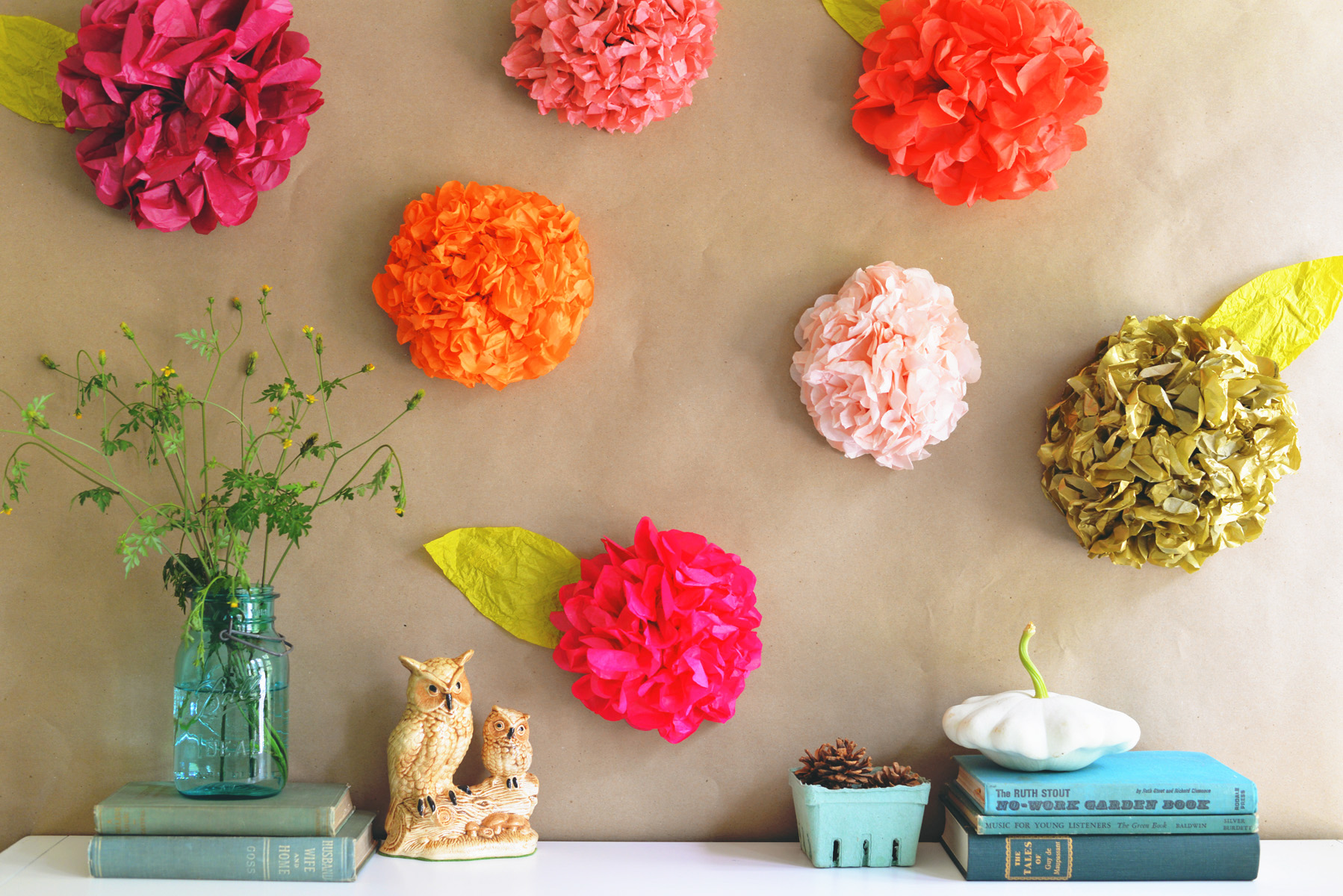 DIY tissue paper floral backdrop