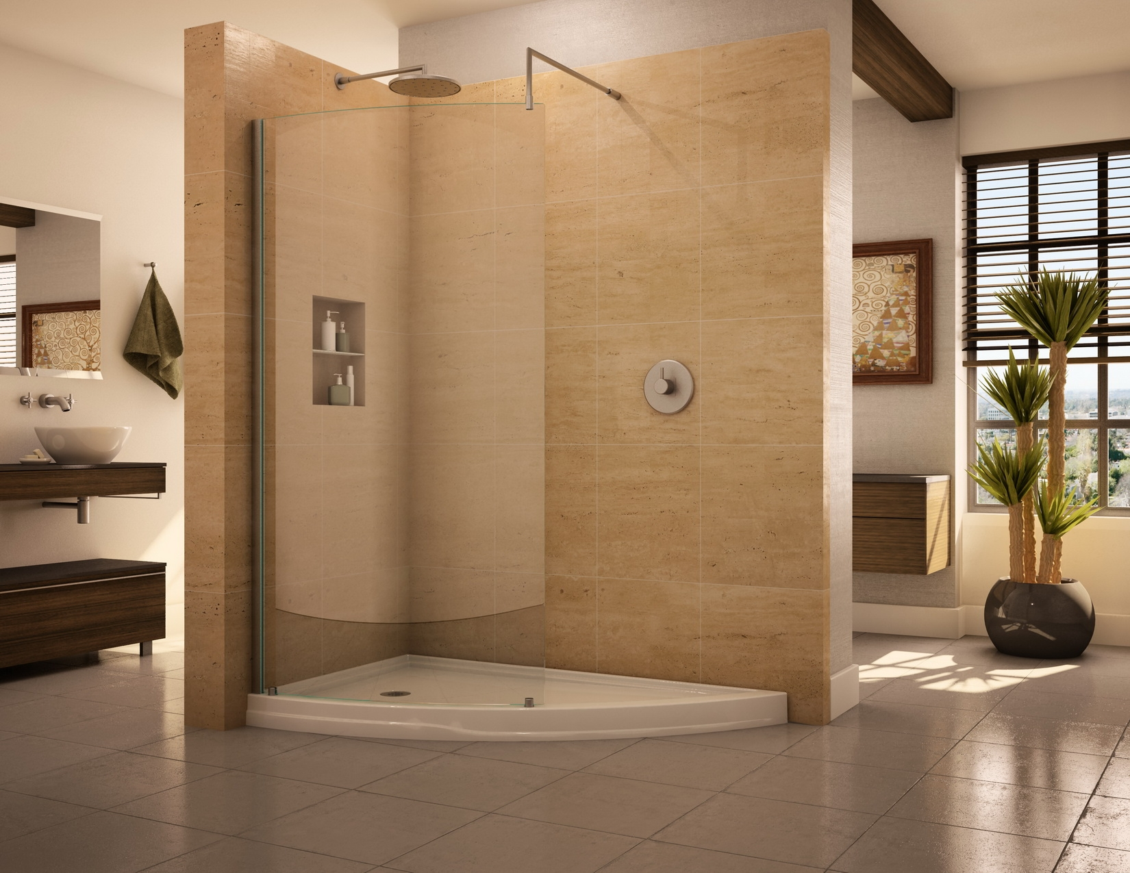 use similar but slightly different materials for the shower - Modern Design Ideas