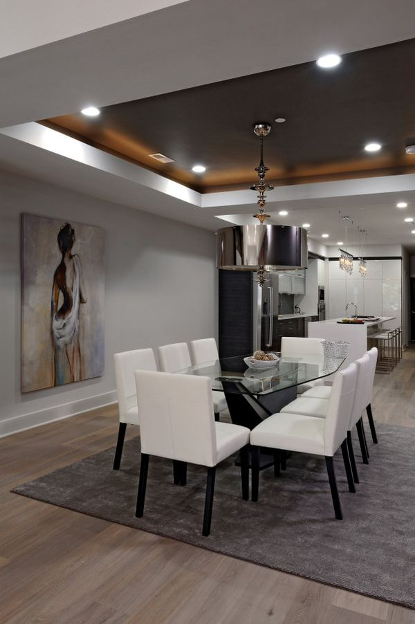 Glamorous lighting ideas that turn tray ceilings into for Simple dining hall design