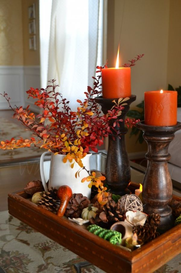 30 festive fall table decor ideas for Candle centerpieces for dining room table