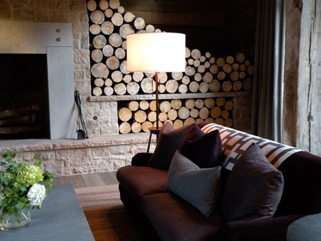 Glamorous Log Cabin Living Room Fireplace