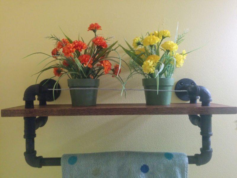 DIY Industrial Towel Rack With Oak Shelf