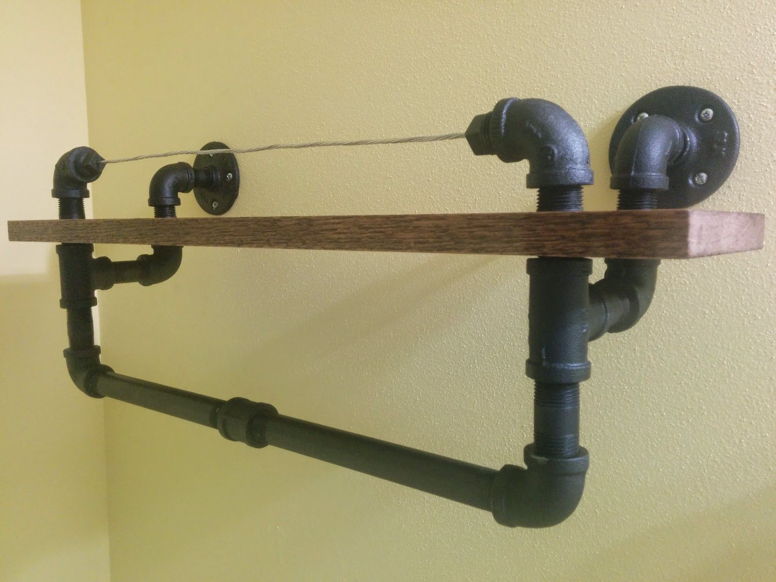 DIY Industrial Towel Rack With Oak Shelf