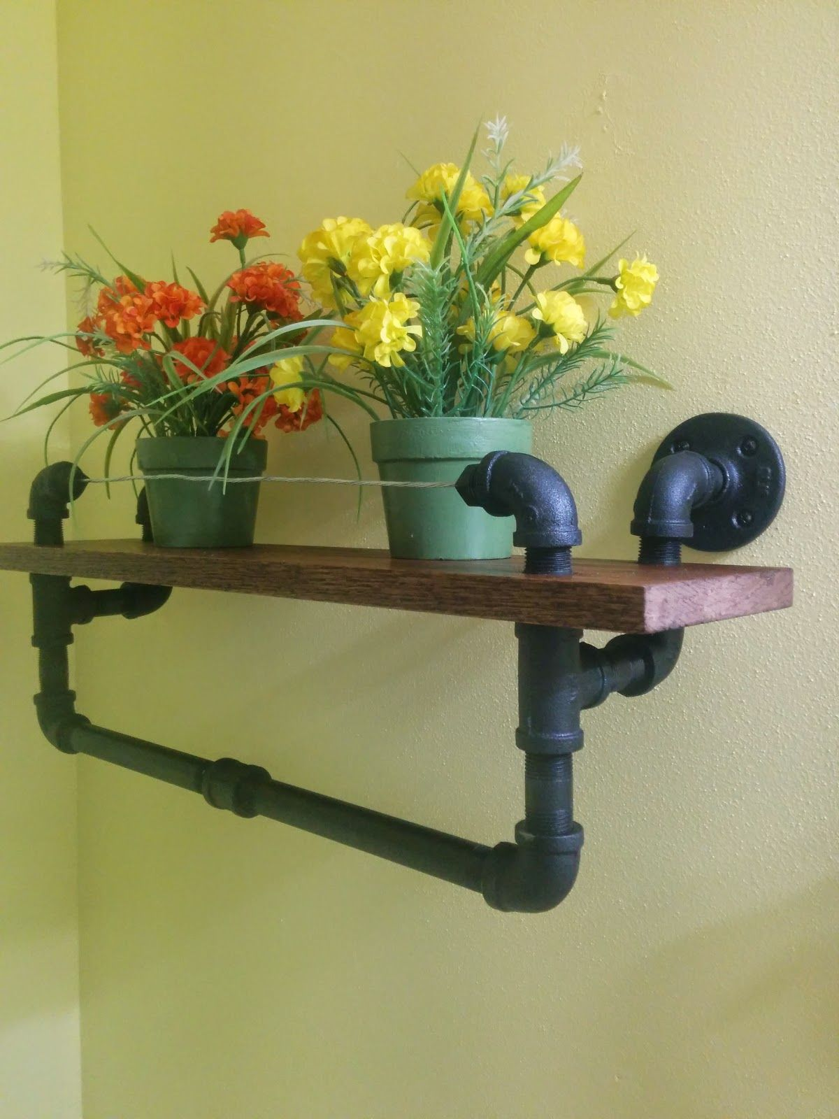 Industrial Towel Rack With Oak Shelf