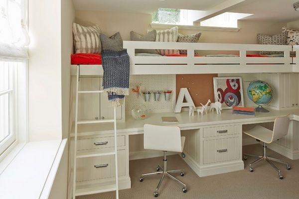 Mixing work with pleasure loft beds with desks underneath - Kid desks for small spaces collection ...