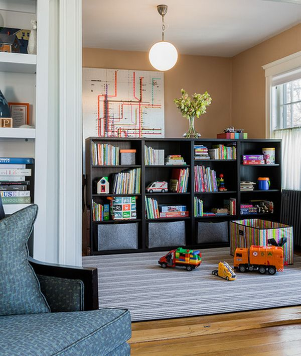 Ikea bookshelves take a stand on versatility 23 creative for Playroom living room combination