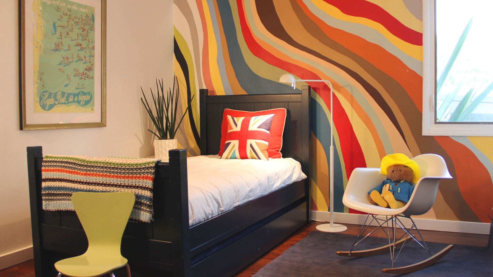 Ordinary Interior Wall Painting Ideas Part - 3: Colorful Waves.