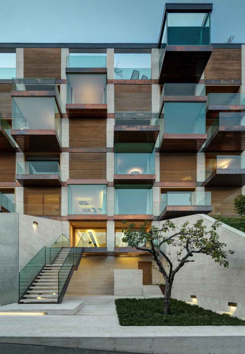 Luxury Condominium With A Facade Made Of Glass Cubes
