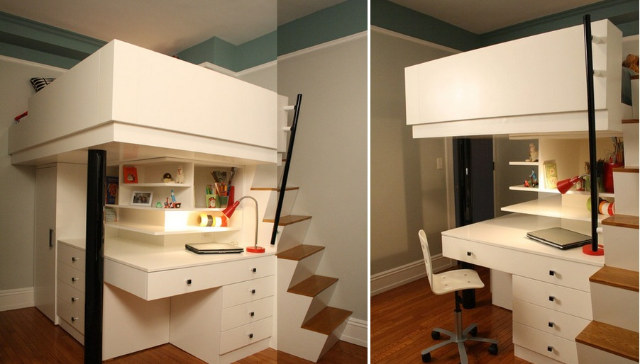 Adult Loft Bed With Desk Mixing Work With Pleasure - Loft Beds With Desks Underneath
