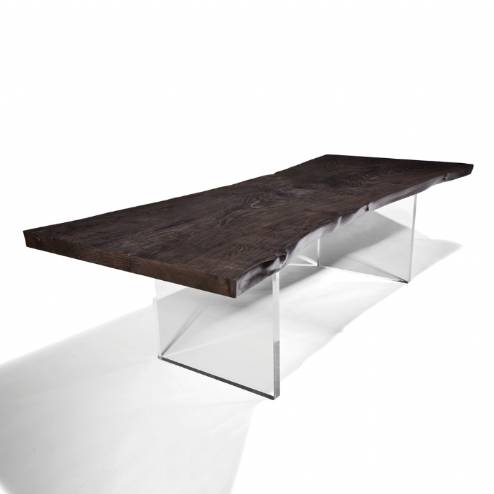 10 Unique Pairings Of Materials Revolving Around Wood : plexiglass base dining table wood on top from www.homedit.com size 700 x 700 jpeg 182kB
