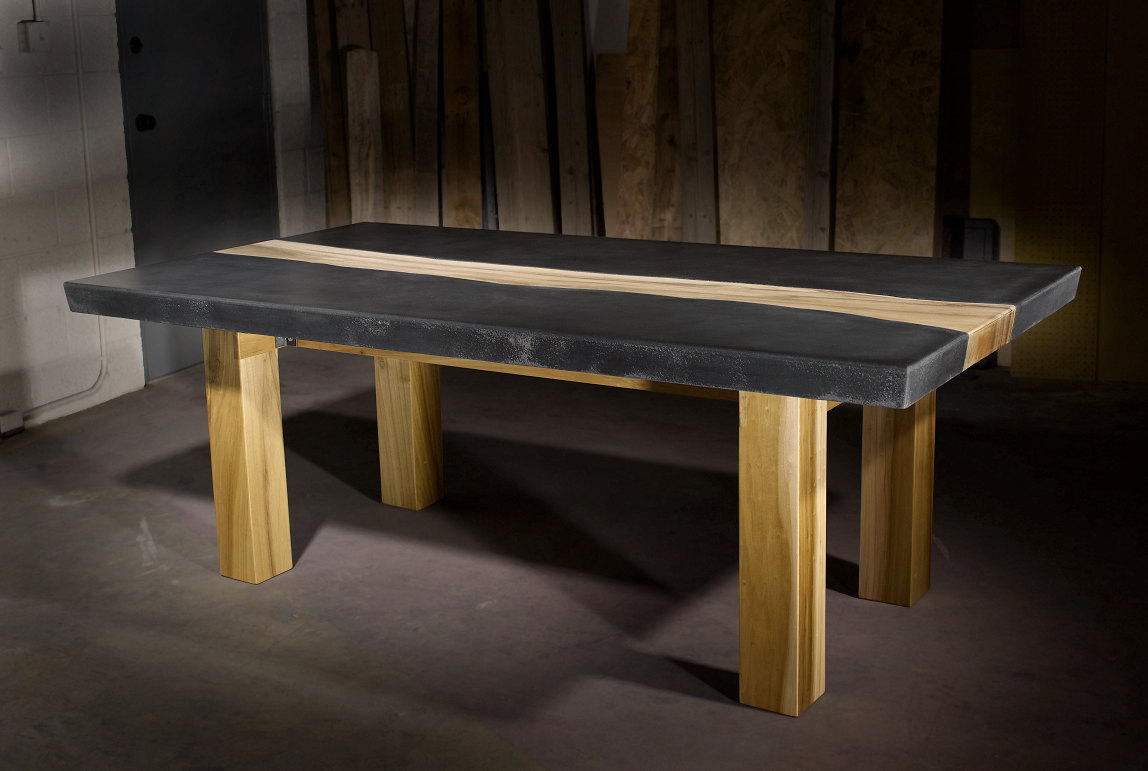 10 unique pairings of materials revolving around wood for Hardwood dining table
