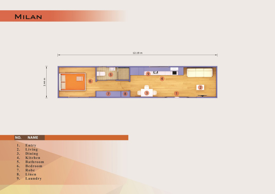 Shipping container one bedroom floor plan