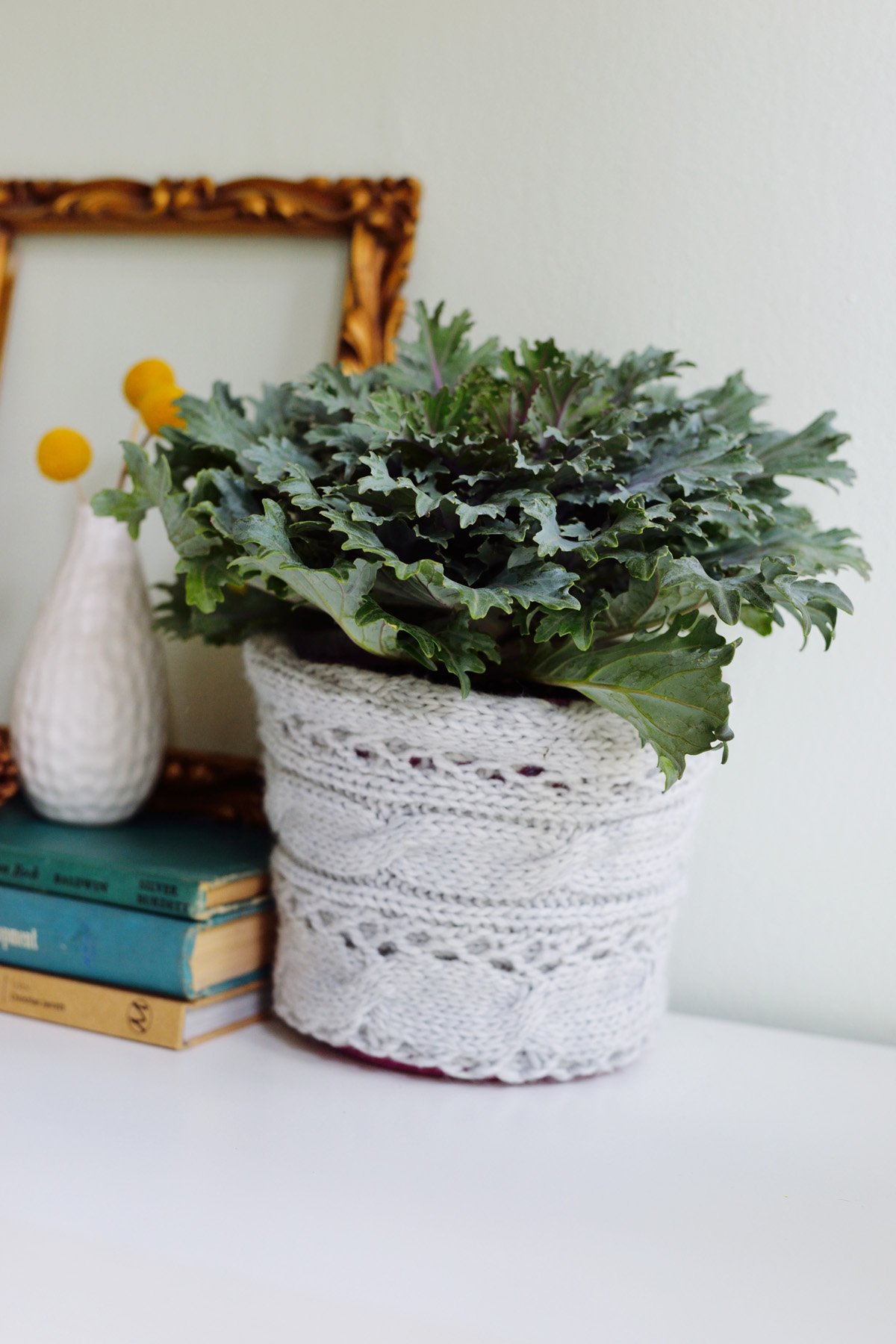 sweater planter cover DIY