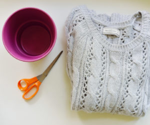 DIY Cable Knit Sweater Planter Cover