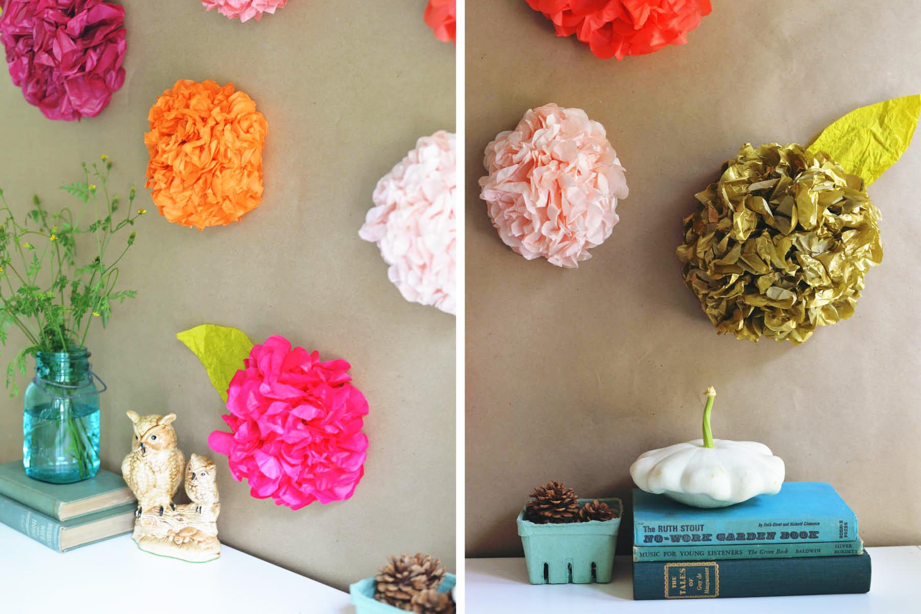 Diy tissue paper flower backdrop for Photo decoration