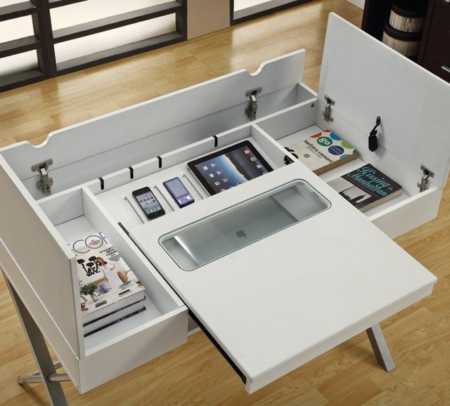Hidden home office furniture Cabinet Homedit Cool Desks That Make You Love Your Job