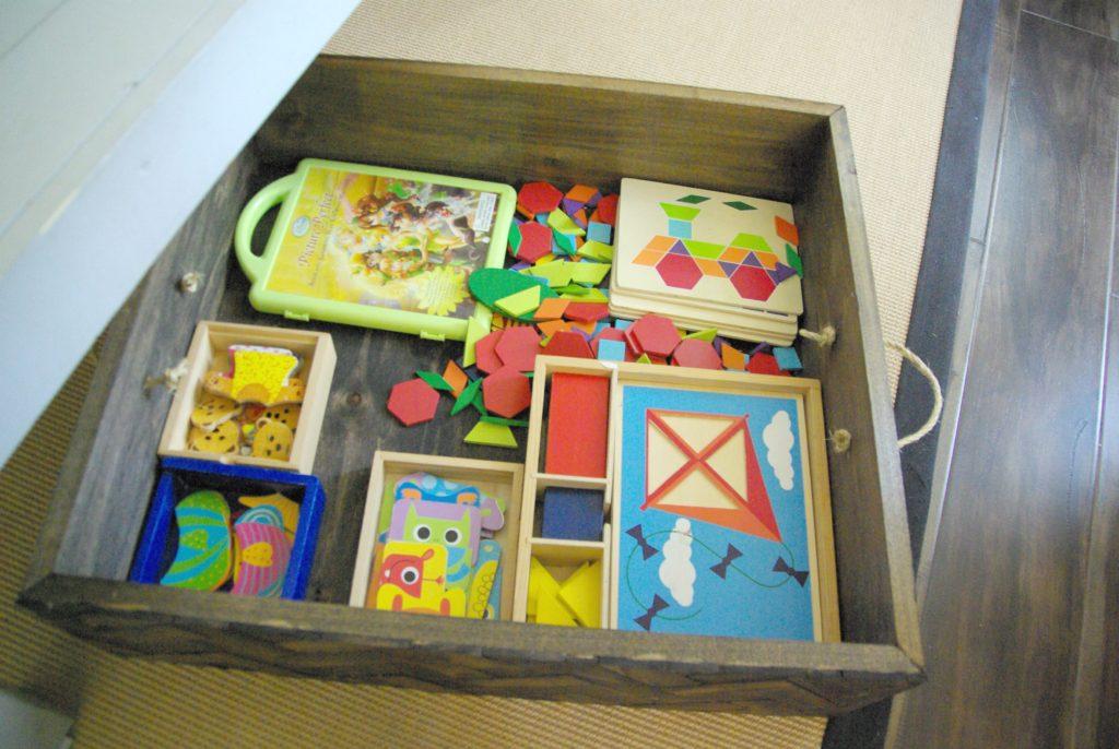 DIY storage box made of wood with a herringbone pattern