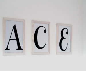 Wood White Washed Frame Letter Art