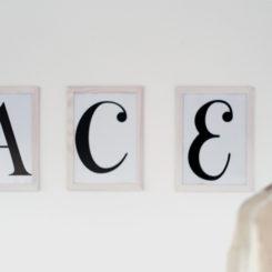 Wood White Washed Frame Letter Art