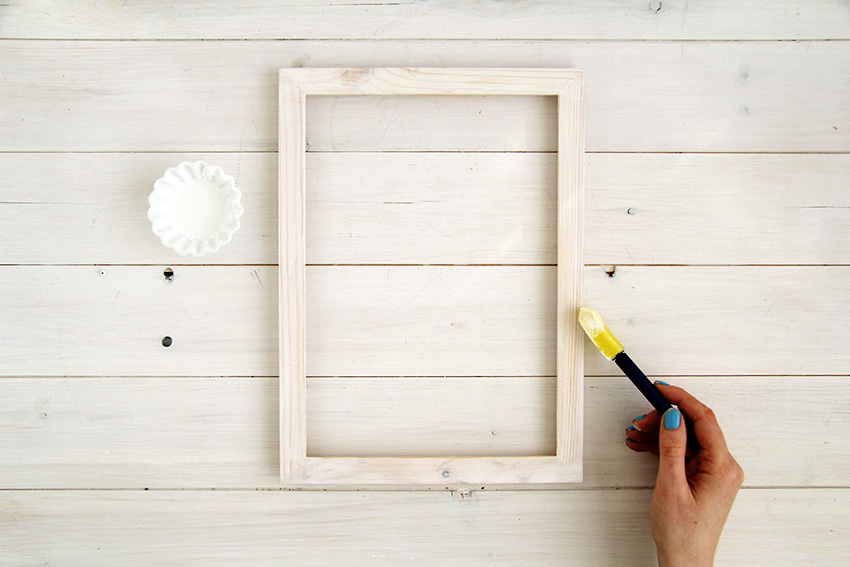 White washed picture frames first layer painting