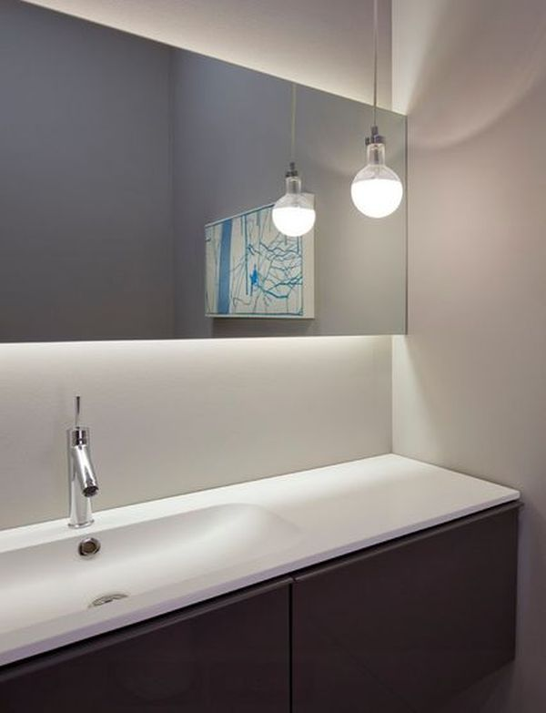 Lighted bathroom mirrors