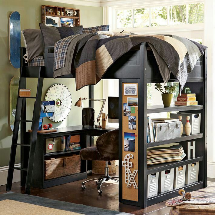 Mixing Work With Pleasure Loft Beds With Desks Underneath : boys room loft bed design from www.homedit.com size 710 x 710 jpeg 110kB
