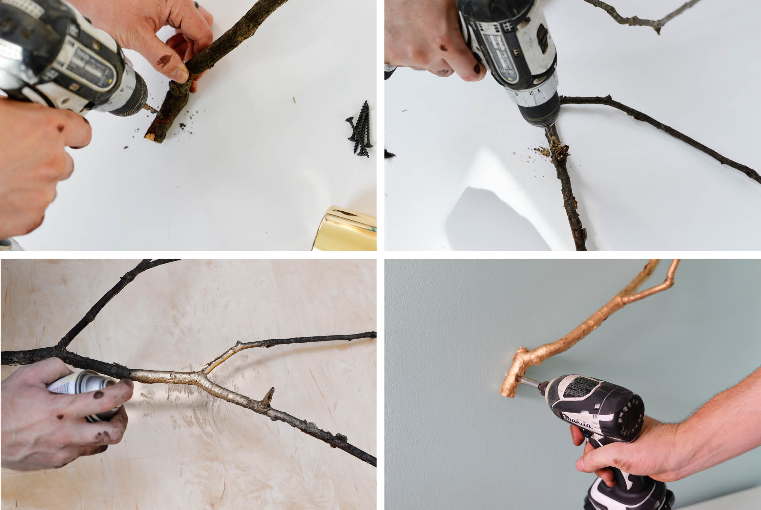 gilded jewelry branch DIY