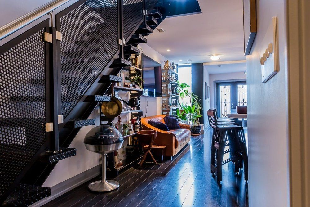 charming industrial loft with gothic accents toronto. Black Bedroom Furniture Sets. Home Design Ideas